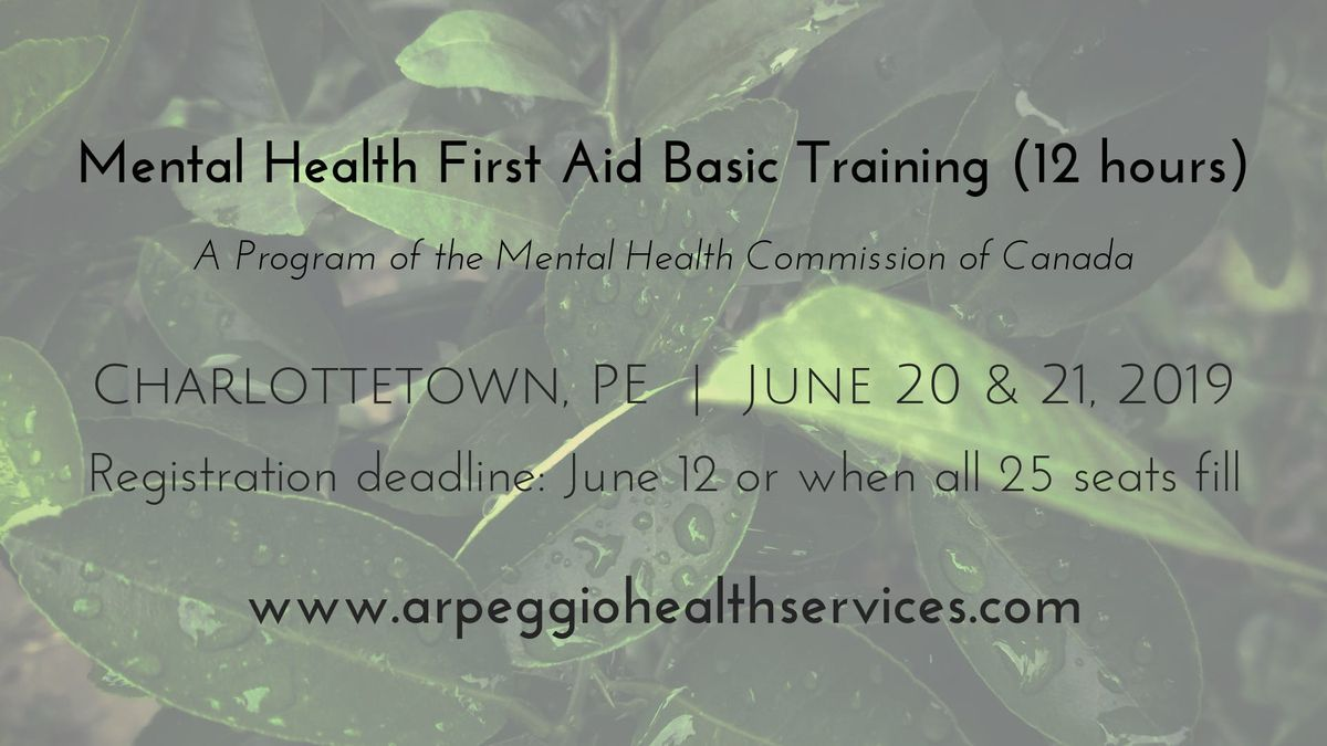 Mental Health First Aid Basic Training Charlottetown Pe June 20