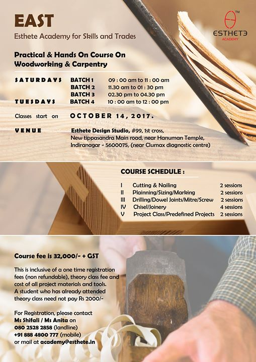 Practical And Hands On Course On Woodworking And Carpentry At