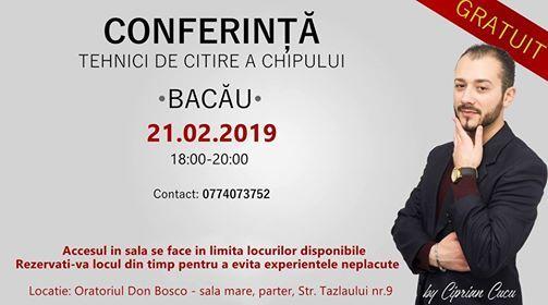 Conferinta Tehnici de citire a chipului Bacau - Gratuita (2019)