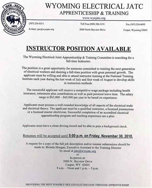 resume submission deadline for instructor position at wyoming