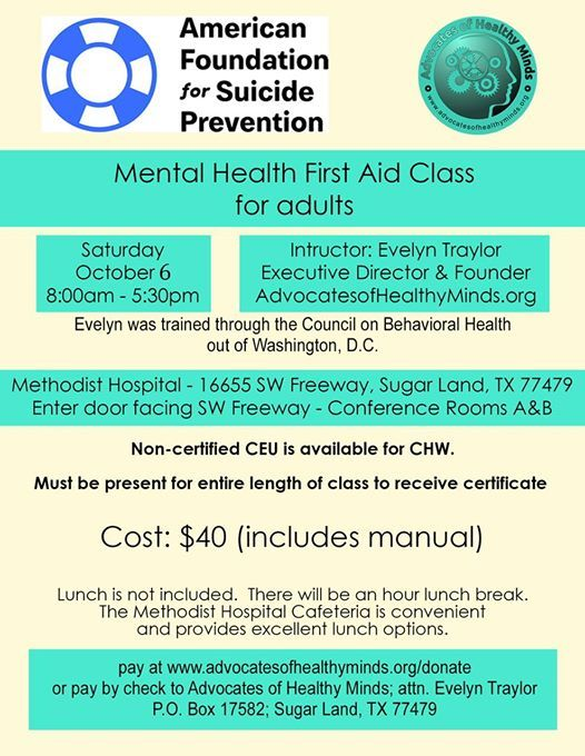 Mental Health First Aid Workshop At Houston Methodist Sugar Land