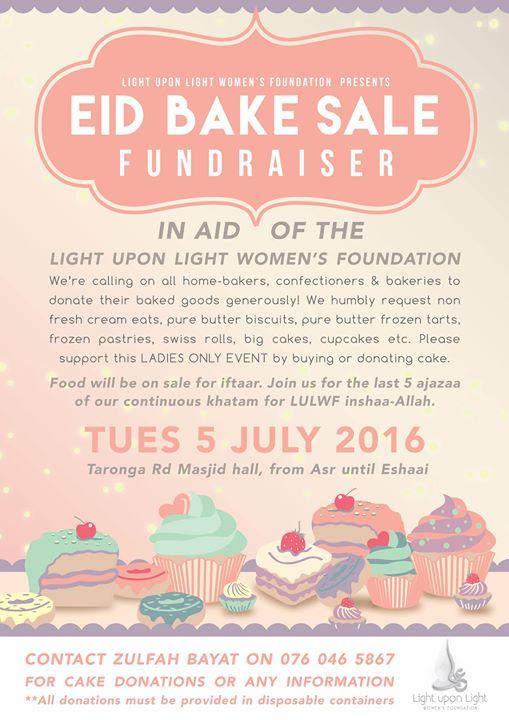 eid bake sale annual fundraiser at taronga road masjid hall cape town
