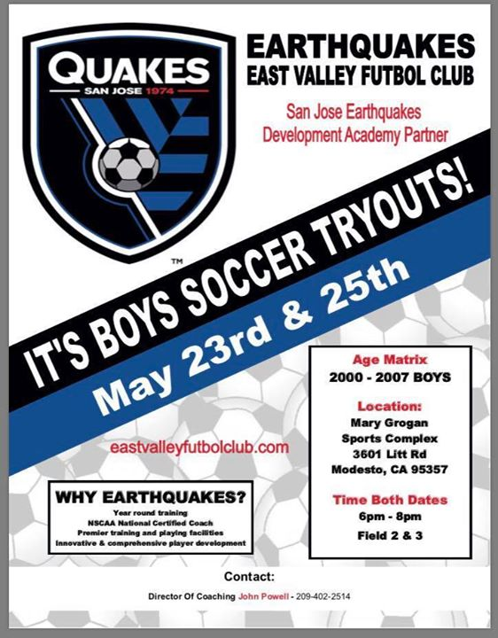 2000 2007 Boys Tryouts At Mary E Grogan Soccer Complex Modesto