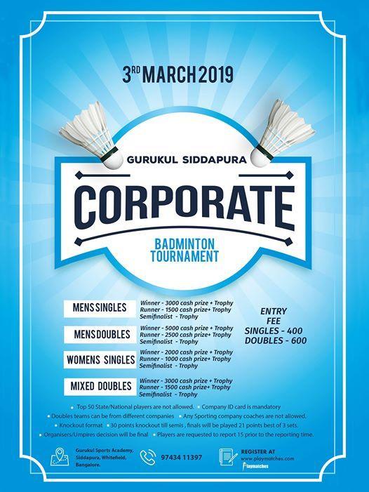 Corporate Badminton Tournament - Gurukul Siddapura