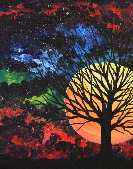 Cosmic sunset at painting with a twist houston tx for Painting with a twist arizona