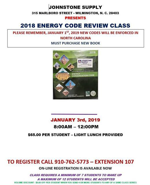2018 Energy Code Review Class at Johnstone Supply Wilmington