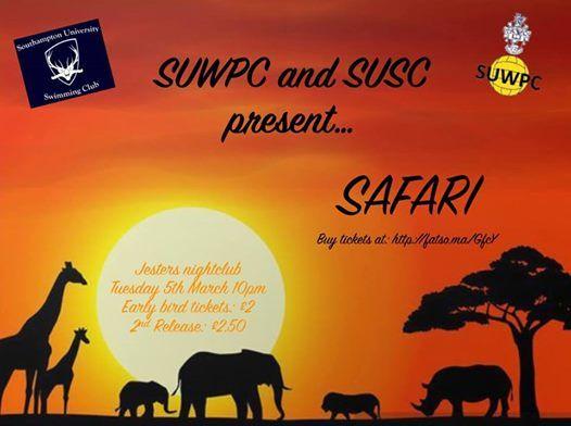 SUWPC and SUSC present: Safari at Jesters Nightclub, Southampton