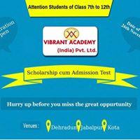 Scholarship cum admission test on 26 nov. 2017