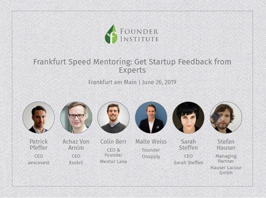 Frankfurt Speed Mentoring Get Startup Feedback from Experts