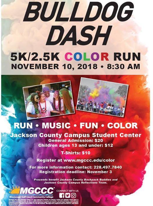 Bulldog Dash Color Run At Mgccc Jackson County Campus Gautier
