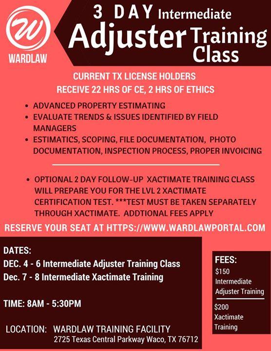 Optional Intermediate Xactimate Training at Wardlaw Claims