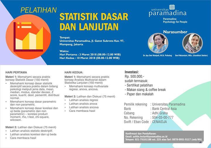 Pelatihan Statistik Dasar dan Lanjutan