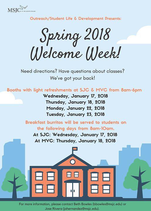 Welcome Week Spring 2018 At Msjc San Jacinto And Menifee Valley