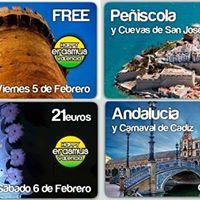 5.2 FREE Valencia City Tour  6.2 Carneval Vinaros  7.2 Peiscola y Cuevas de San Jos  11.2 a 14.2 Andalucia y Carnaval di Cadiz