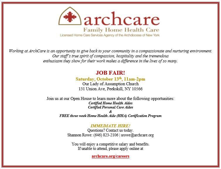 ArchCare Job Fair at Our Lady of Assumption Church | Peekskill