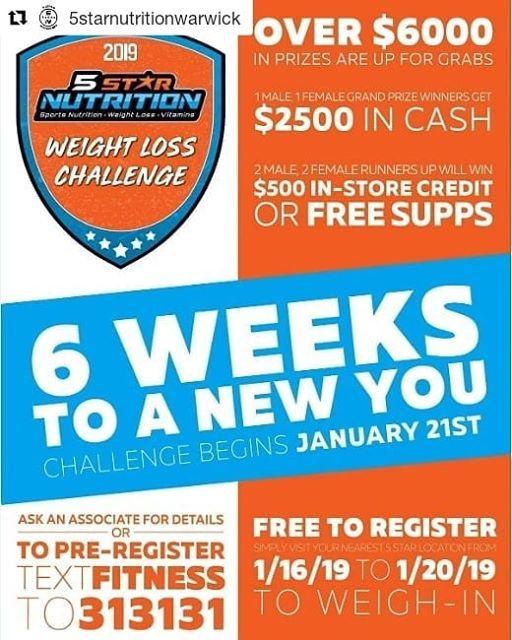 6 Week Weight Loss challenge at 5 Star Nutrition USA (Warwick), Island