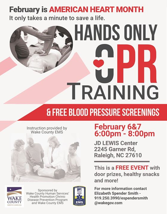 Hands Only Cpr Training Free Blood Pressure Screenings At Jd Lewis