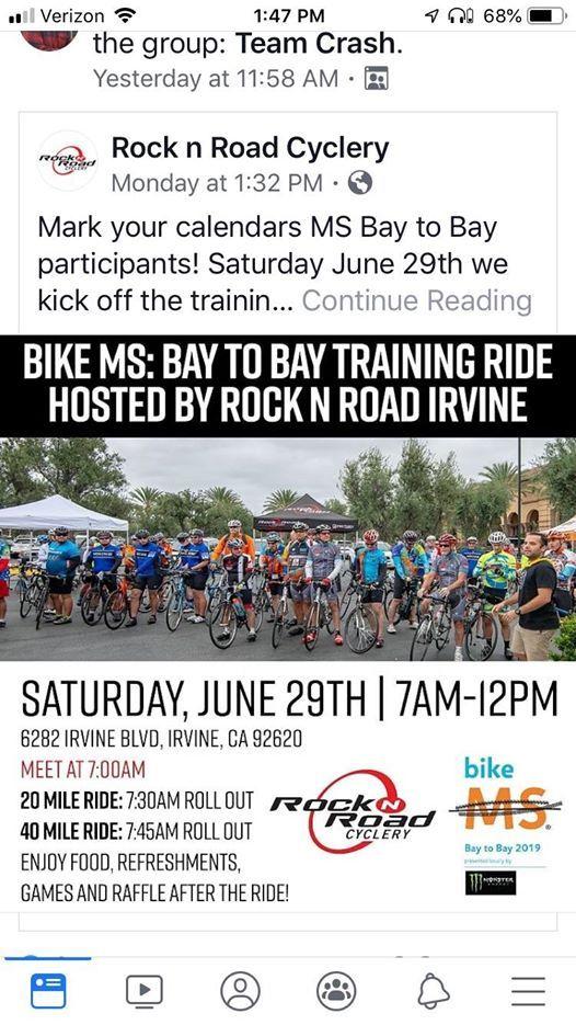 Rock N Road Bay To Bay Training Ride At 6282 Irvine Blvd Irvine Ca