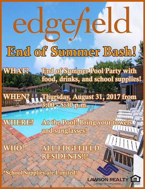 end of summer pool party bash at edgefield apartments. Black Bedroom Furniture Sets. Home Design Ideas