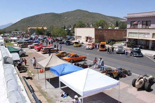 On The Streets Of Bisbee Cars Bikes Racers At Bisbee Arizona - Bisbee car show