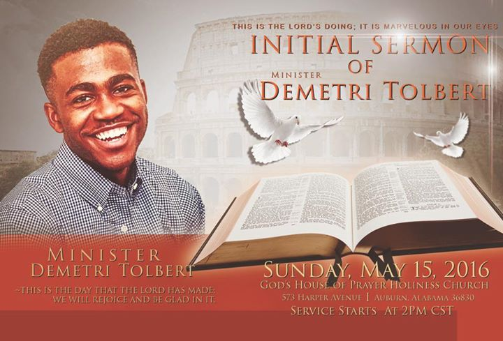 Minister Demetri Tolberts Initial Sermon at Gods House of Prayer