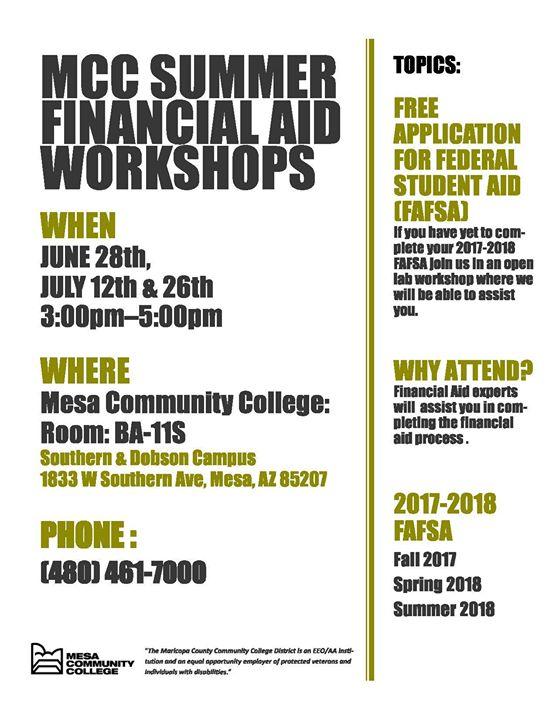 Mcc Summer Financial Aid Workshops At Mesa Community College Mesa