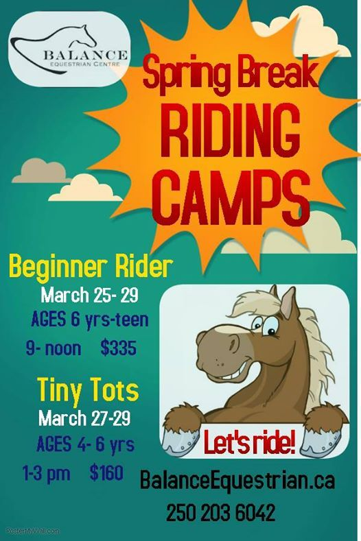 Spring Break Riding Camps ages 4- teen
