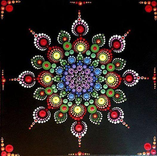Mandala dot art on canvas