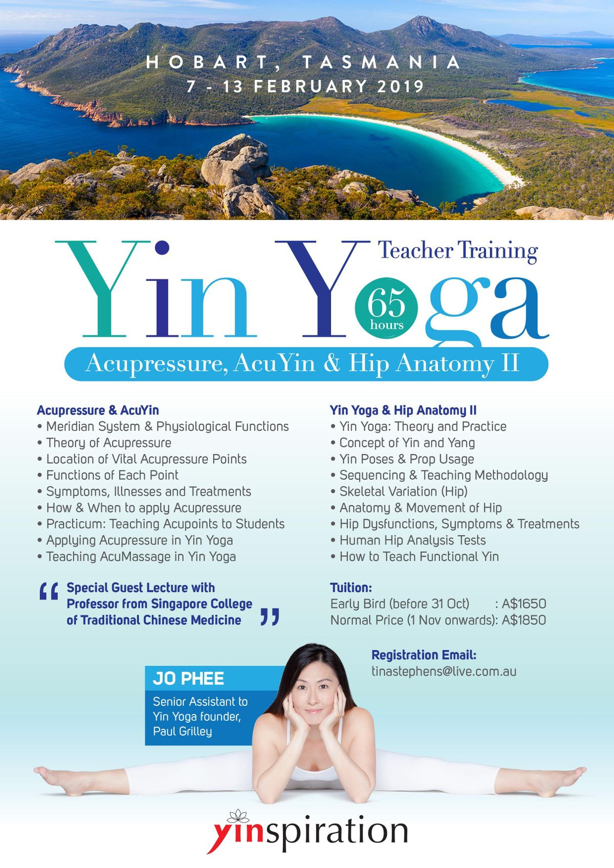 Yin Yoga 65hr Teacher Training with Jo Phee at Hobart Town Hall, Hobart