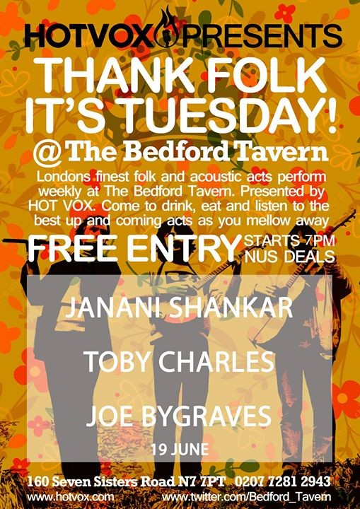 HOT VOX Presents Janani Shankar  Toby Charles  Joe Bygraves