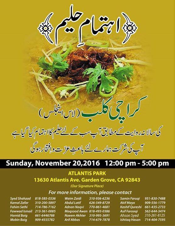 Annual Haleem Get Together Hosted By Karachi Club At Atlantis Park