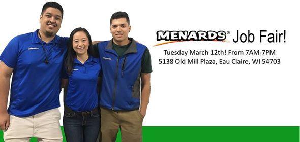 Menards Job Fair! at Menards Careers5101 Menard Dr, Eau