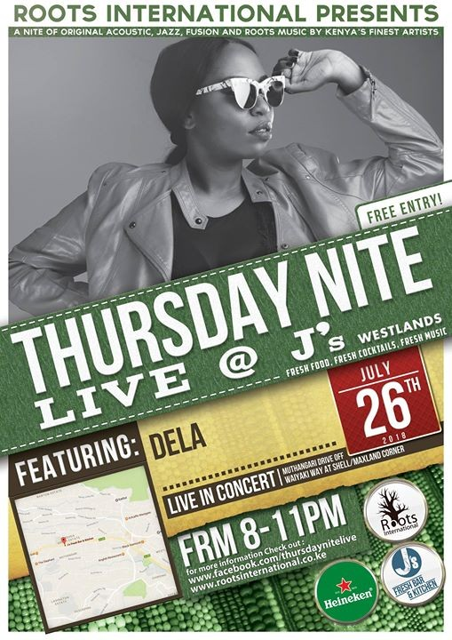 Roots Intl presents DELA in concert Thursday Nite Live at Js