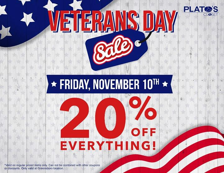 Veterans Day Sale Everything 20 Off At Plato S Closet Greensboro