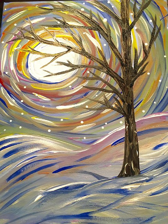 Paint sip snowy trees at cleveland county arts for Paint and sip cleveland