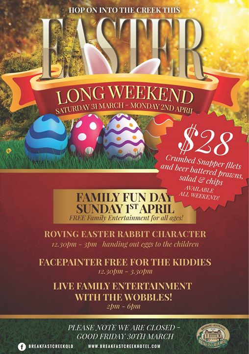 Easter family fun day at the breakfast creek hotel brisbane easter family fun day negle Images