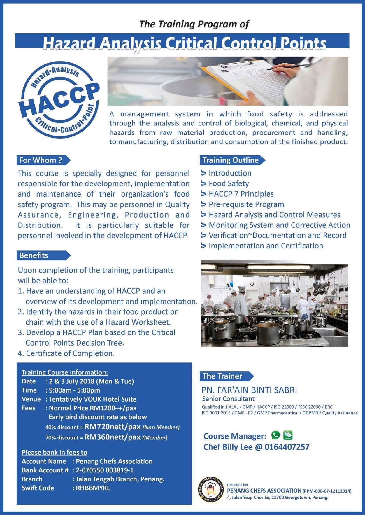 HACCP Food System Training at The Vouk Hotel, Penang, Penang
