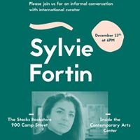 PARSE curatorial resident Sylvie Fortin speaks at The Stacks