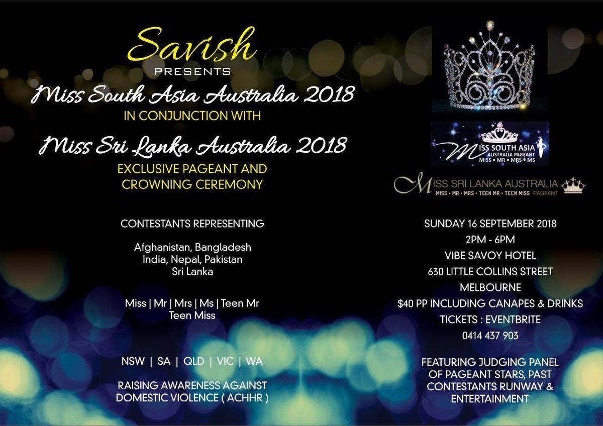 miss south asia australia miss sri lanka australia pageant 2018 at