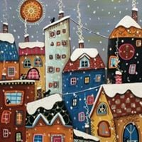 Paint-Party ACRYLIC  PAINTING &quot Winter Fairytale Town &quot