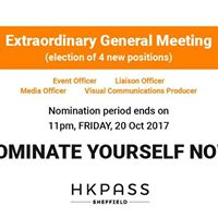 EGM electing 4 new positions (nomination ends on FRI 20 Oct)