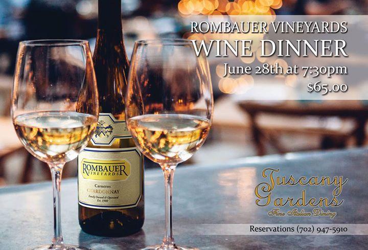 Rombauer Vineyards Wine Dinner At Tuscany Gardens
