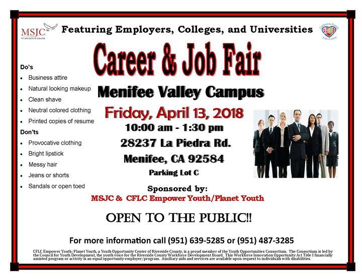 Mt San Jacinto College Career Fair Menifee