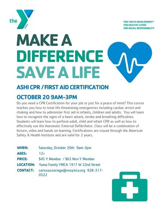 October Cpr Certification At Yuma Family Ymca1917 W 32nd St Ste 2