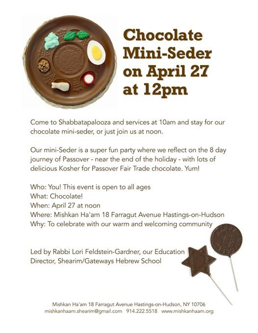 Chocolate Mini-Seder at Mishkan Ha'am Reconstructionist, New York