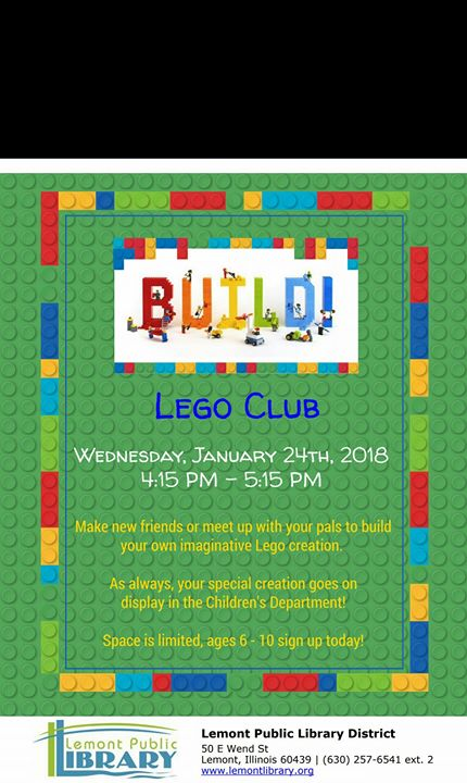 Lego Club! at Lemont Public Library, Lemont