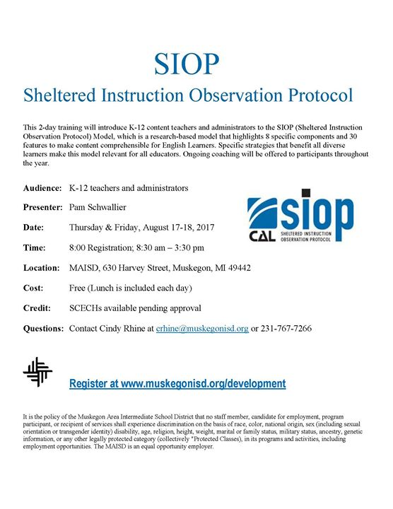 Siop Sheltered Instruction Observation Protocol At Muskegon Area Isd