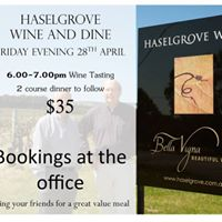 Wine &amp Dine Evening featuring Haselgrove Wines