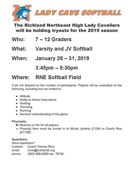 RNE Lady Cavaliers Softball Tryouts