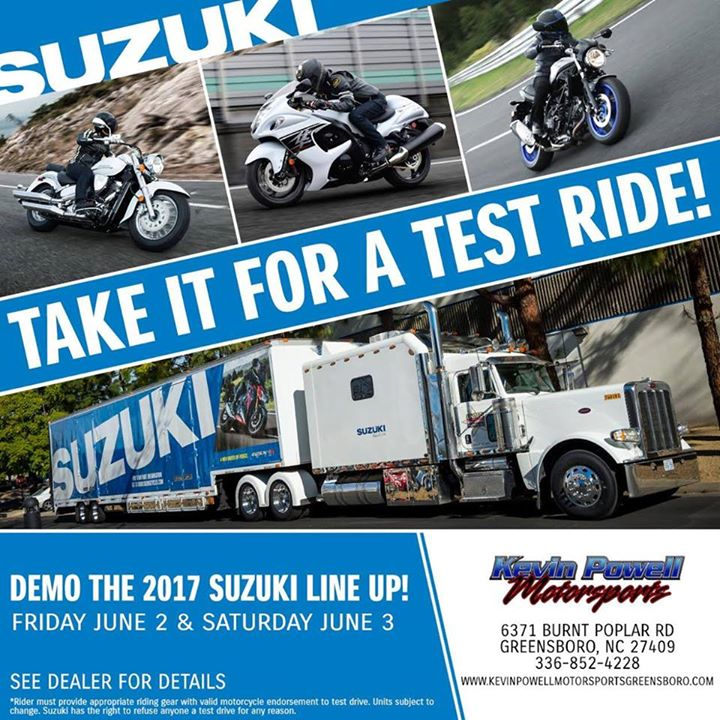 suzuki demo days! at kevin powell motorsports, greensboro